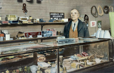E.L. Moorehead in his electrical supply store